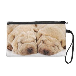 Two Shar Pei puppies sleeping Wristlet Purse