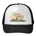 two sheep animal light apparel trucker hat