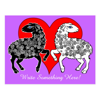 Two Sheep Black White Big Red Heart Personalized Postcard