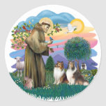 Two Shelties - St. Francis (ff) Classic Round Sticker