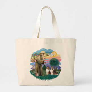 Two Shelties - St. Francis (ff) Large Tote Bag