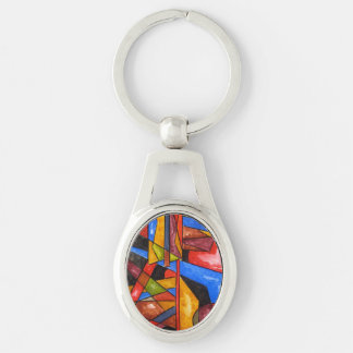 Two Ships - Abstract Art Geometric Handpainted Silver-Colored Oval Metal Keychain