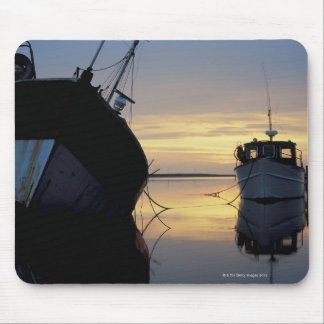 two ships anchored at sunset mouse pad