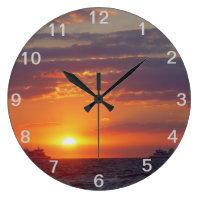 Two Ships Passing at Sundown Numbered Wall Clock