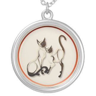 Two Siamese Cats  Necklace