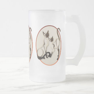 Two Siamese Cats Oval Mugs