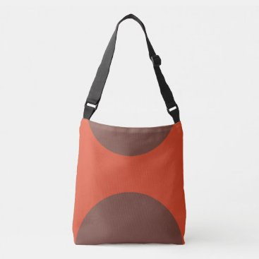 Beach Themed Two sided abstract art print brown on red crossbody bag