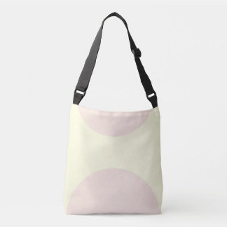 Two sided abstract art print pink on cream crossbody bag