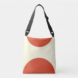 Two sided abstract art print red on cream crossbody bag