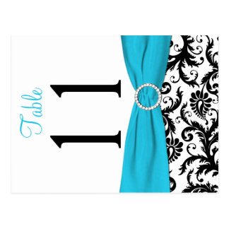 Two-sided Aqua, Black, White Damask Table Number Post Cards