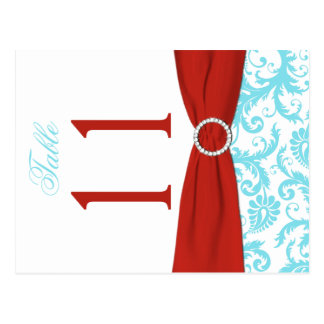 Two-sided Aqua, Red, White Damask Table Number Postcard