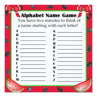 Two Sided Baby Shower Games Watermelon Themed