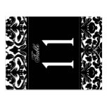 Two Sided Black and White Damask Table Number Post Card