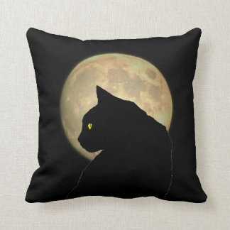 Two Sided Black Cat and Full Moon Throw Pillow