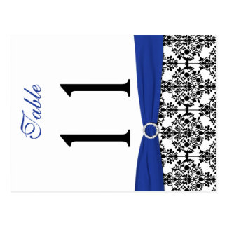 Two-sided Black White Blue Damask Table Number Postcard
