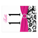Two-sided Black, White, Pink Damask Table Number Postcard