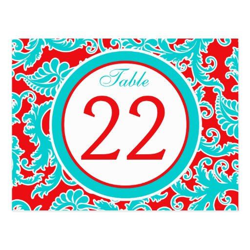 Two-sided Blue, Red, White Damask Table Number Post Card