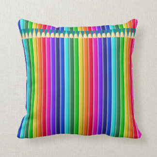 Two-sided (Bright/Pastel): Rainbow Pencil, Crayon Throw Pillow