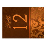Two Sided Brown and Copper Damask Table Number Post Card