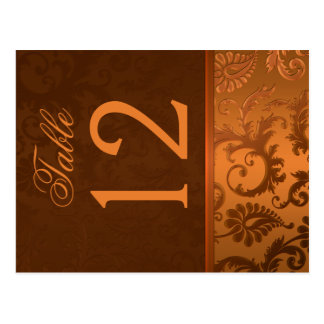Two Sided Brown and Copper Damask Table Number Postcard