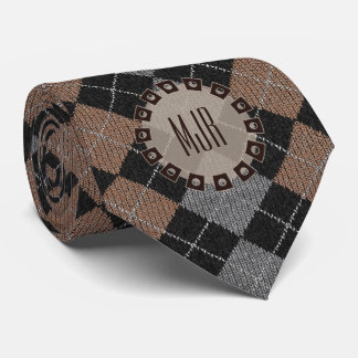 Two-Sided Brown, Gray and Black Argyle Monogram Neck Tie