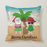 Two sided Christmas Santa at the beach pillow