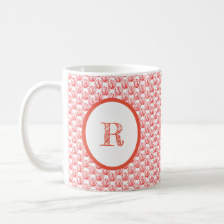 Two-Sided Coral and White Monogram Mug