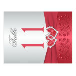 Two Sided Coral Pink and Gray Floral Table Number Postcards