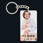 """Two Sided Custom Photo #1 Dad Father Gift Keychain<br><div class=""""desc"""">This item features a custom photo of your choice,  and a place for personalized text. Keep the text that&#39;s there already or change it to something else.</div>"""