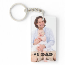 Two Sided Custom Photo #1 Dad Father Gift Keychain