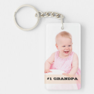 Two Sided Custom Photo #1 GRANDPA Grandfather Gift Keychain