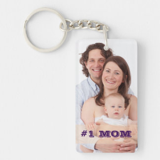 Two Sided Custom Photo #1 MOM Mother Gift Keychain