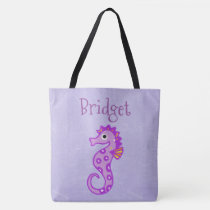 Two Sided Cute Seahorse Personalized Beach Bag