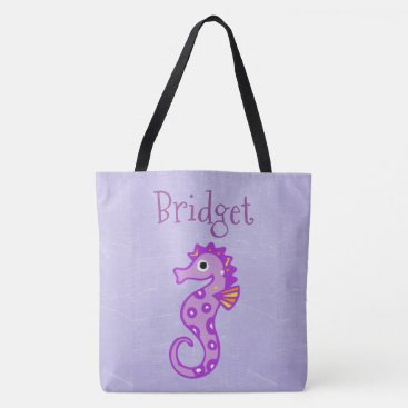 Beach Themed Two Sided Cute Seahorse Personalized Beach Bag
