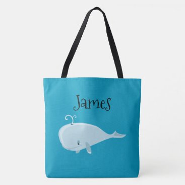 Beach Themed Two Sided Cute Whale Personalized Beach Bag