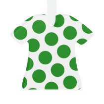 Two Sided Green and White Polka Dots Ornament