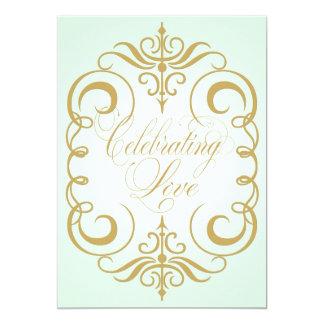 Two Sided Green & Gold Swirl Wedding Invitation