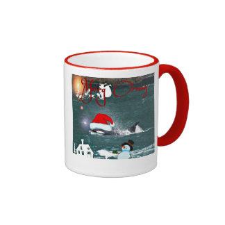 Two Sided Humpback and Killer Whale Santa Mug