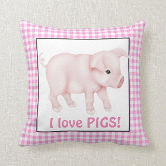 two sided I love Pigs cartoon throw pillow