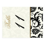 Two Sided Ivory, Gold, and Black Table Number Post Card