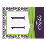 Two Sided Lime and Purple Damask Table Number Postcards