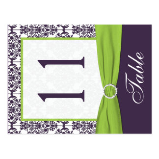 Two Sided Lime and Purple Damask Table Number Postcard