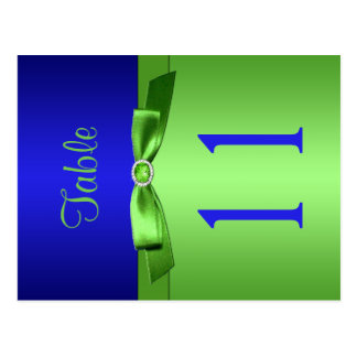 Two Sided Lime and Royal Blue Table Number Post Cards