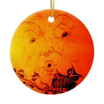 Halloween Themed Two sided Moon Ornament