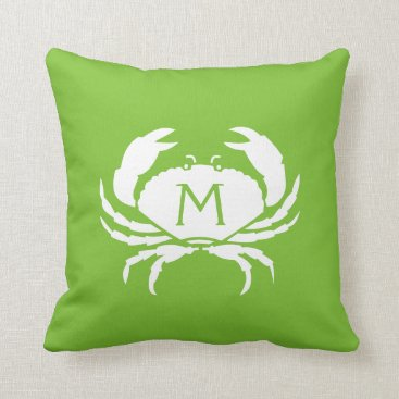 Beach Themed Two-Sided Nautical Lime Crab Monogram Throw Pillow