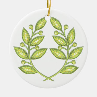 Two sided ornament with crystal laurel wreath