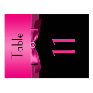 Two Sided Pink and Black Table Number Post Cards