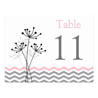 Two-Sided Pink Gray White Chevron Table Number