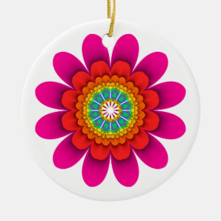 Two sided Pink - Yellow Flower Power Ornamet Christmas Ornament
