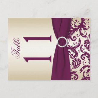 Two-sided Plum and Champagne Damask Table Number postcard